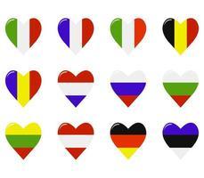 ensemble de drapeaux en forme de coeur