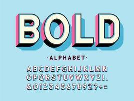 alphabet d'affichage gras 3d moderne vecteur