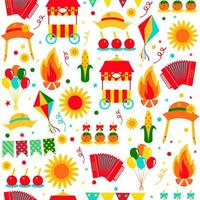 festa junina brasil junho festival sem costura padrão vetor