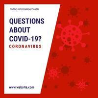 affiche de questions de coronavirus rouge et blanc