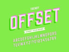 Stylized Offset 3D Alphabet vector