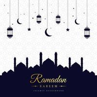 Ramadan Dark Blue Mosque Silhouette Greeting