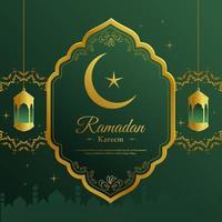 Ramadan verde e ouro frame ornamentado saudação vetor