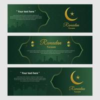 conjunto de banner ornamentado verde e dourado do Ramadã vetor