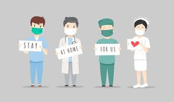 Doctors and Nurses with Stay at Home For Us Signs