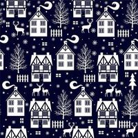 Winter Christmas Seamless Pattern with Cottages and Deer vector