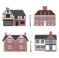 Set of traditional countryside English cottages vector