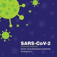 Cartel de coronavirus 2 sars en morado y verde