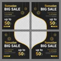 Ramadan black and gold sale banner template set