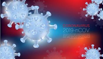 coronavirus en fondo borroso azul y rojo