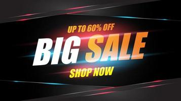 Big Sale Poster with Glowing Lights and Angles