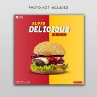 plantilla de banner de redes sociales super deliciosa hamburguesa