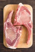 Fresh pork chops or cutlets on wooden background.