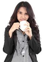 femme, boire, café