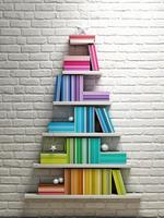 bookshelf, christmas tree,