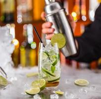 Mojito drink on bar counter photo