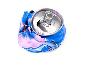 Crushed drink can isolated.