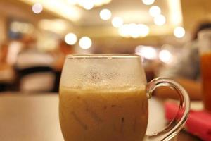 Iced coffee drink in cafe