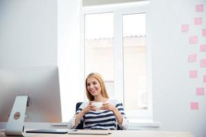 Female photo editor drinking coffee