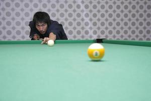 Man in yukata playing billiards photo