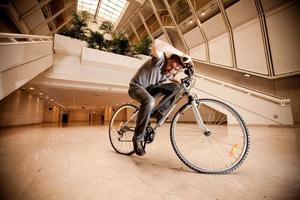 Street biker in indoor photo