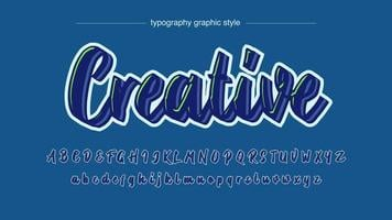 Neon Blue and Green Light Calligraphy Font vector