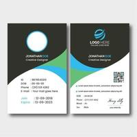 Gray, Blue and Green Curved ID card