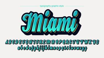 Blue Stylized Calligraphy Font vector