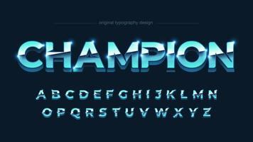 Bright Blue Chrome Uppercase Bold Alphabet