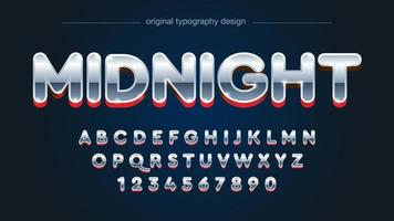 Rounded Chrome and Red Uppercase Alphabet vector
