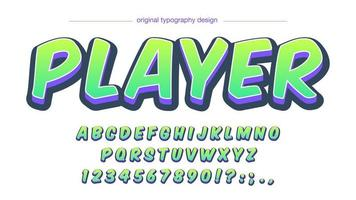 Neon Green Bold 3D Cartoon Alphabet vector