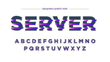 alfabeto de linhas fatiadas roxo néon futurista vetor
