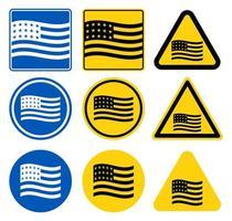 conjunto de sinalizador de bandeira dos EUA vetor