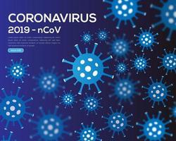 cartaz de infecção de coronavírus azul vetor