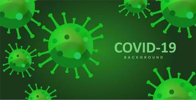 Green Coronavirus Background in Flat Style vector