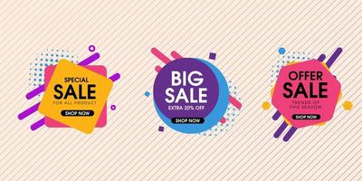 Bright Geometric Sale Badges vector