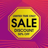 Limited Time Only Sales Banner in Hexagon on Pink vector