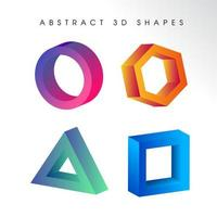 Geometric Gradient 3D Shape Set vector