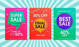 banner de venda colorido conjunto com formas dinâmicas