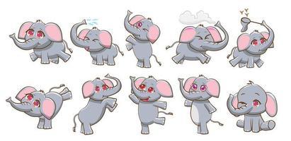 conjunto de elefantes de dibujos animados vector