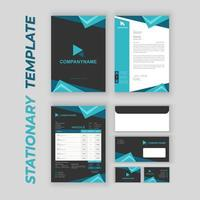 Branding Identity Set with Blue Triangle Accents