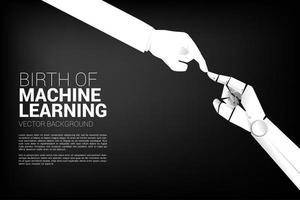 Robot hand touching human hand vector
