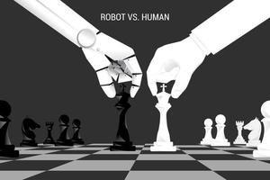 Robot and human hand move chess pieces on board