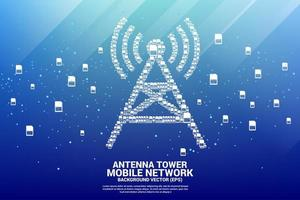 Antenna tower icon made from mobile Sim cards