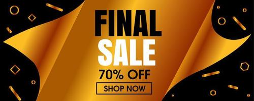 Big Reveal Final Sale Banner with Gold Geometric Shapes vector