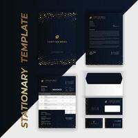 Branding Identity Set with Golden Circle Pattern on Blue