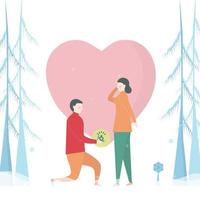 Man Proposing to Woman in Snowy Pine Trees