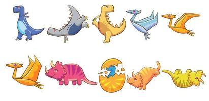 Set of Colorful Cartoon Dinosaurs