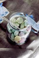 Jars of color baby shower candy