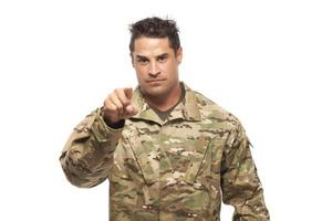 Army soldier pointing at camera